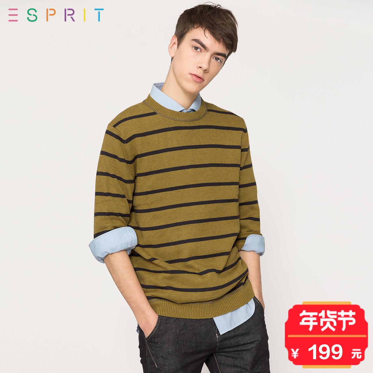 ESPRIT 男装2017冬全棉撞色条纹圆领针织套头衫-117EE2I003