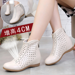 Increased women's shoes, mid-heeled hollow boots, summer women's boots, spring, autumn, winter, Martin boots, leather flat boots, wedges, single boots