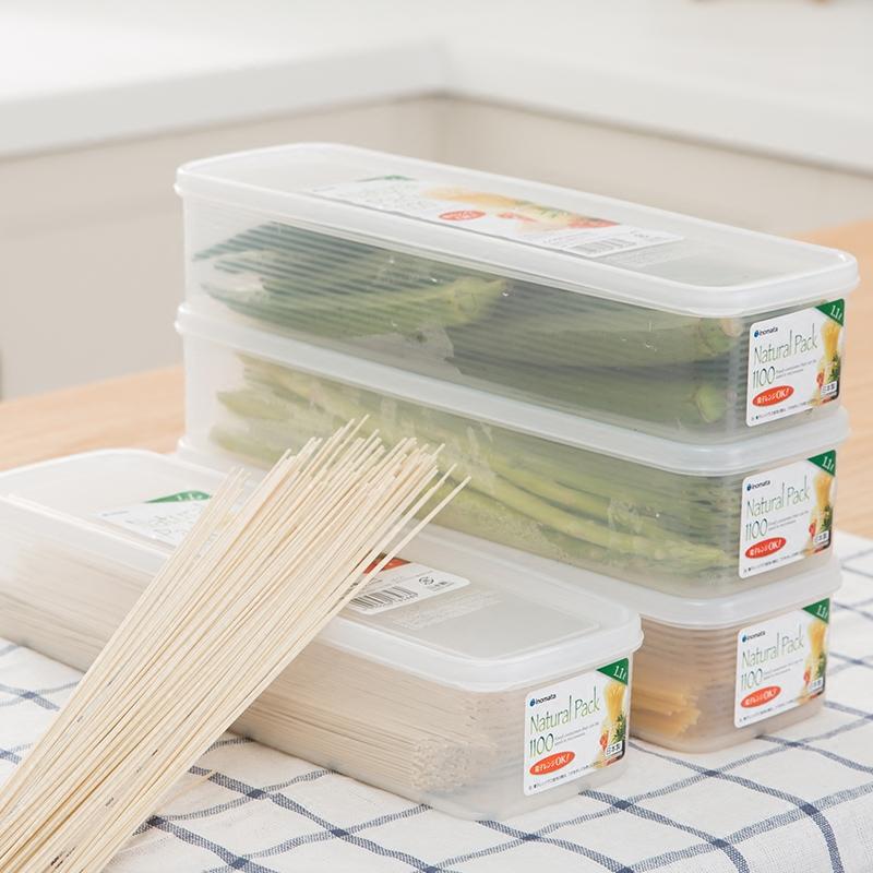 日本进口面条保鲜盒塑料冰箱收纳盒长方形厨房挂面储物食物密封盒
