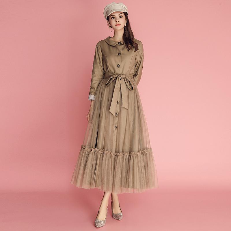 女装 秋季 风衣 元素 设计 系带 拼接 摆长 连衣裙