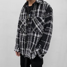 【晓明qi0同式】IgoIMAX中长式黑白格子粗花呢编织衬衫外套情侣