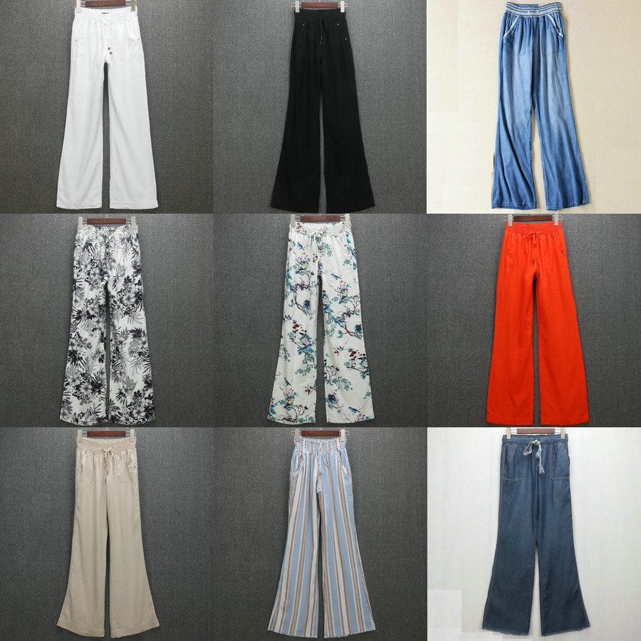 欧美单夏季薄款女装 高腰天丝棉牛仔垂感阔腿裤棉麻裤 适合大长腿