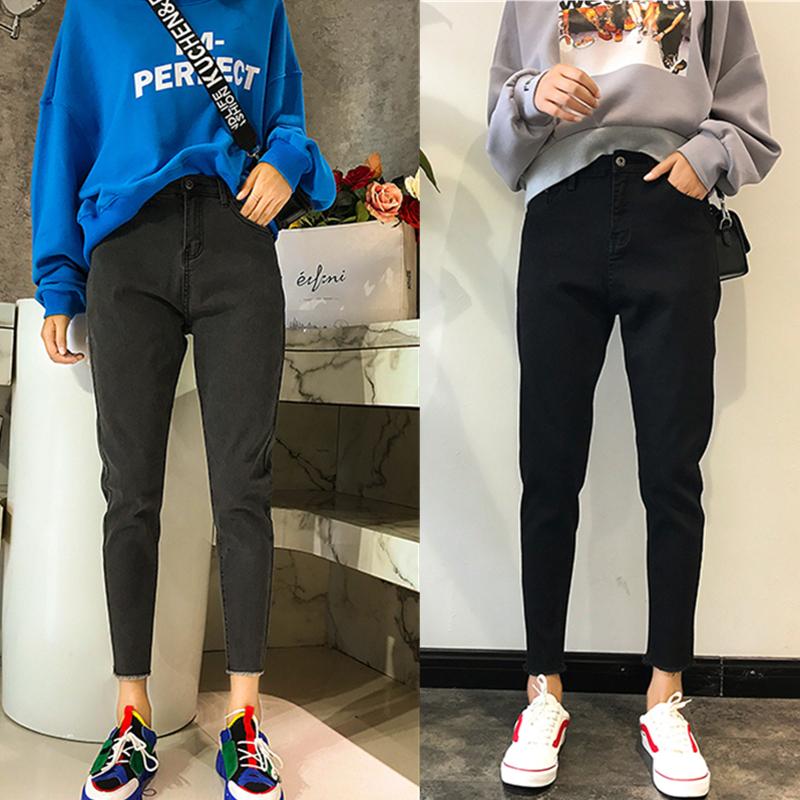 大码女装2020年新款高腰牛仔裤女宽松显瘦小脚裤胯大腿粗女裤子潮