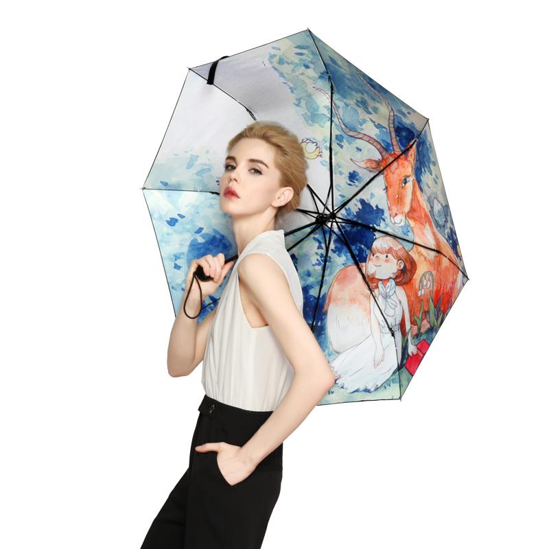 羚羊早安  黑胶防晒防紫外线晴雨两用太阳伞文艺清新通用伞