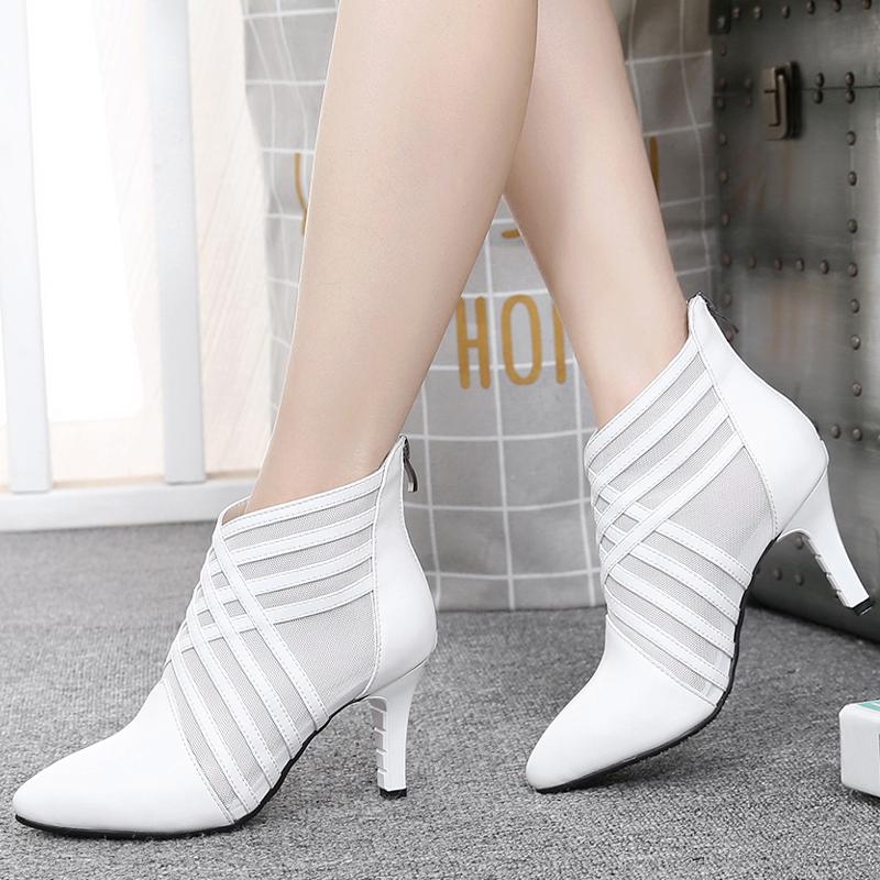 网靴女真皮高跟尖头2019新款春秋时尚女鞋细跟镂空短靴凉靴马丁靴