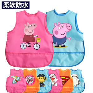 Baby eating bib waterproof summer thin section sleeveless rice pocket kindergarten gown anti-wear children's apron drawing clothes