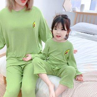 韩国秋款女童宝宝牛油果绿长袖睡衣两件套人棉母女亲子家居服套装图片
