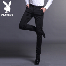 Playboy casual pants men's autumn and winter slim Pants Plus Plush thick Leggings Korean business men's trousers