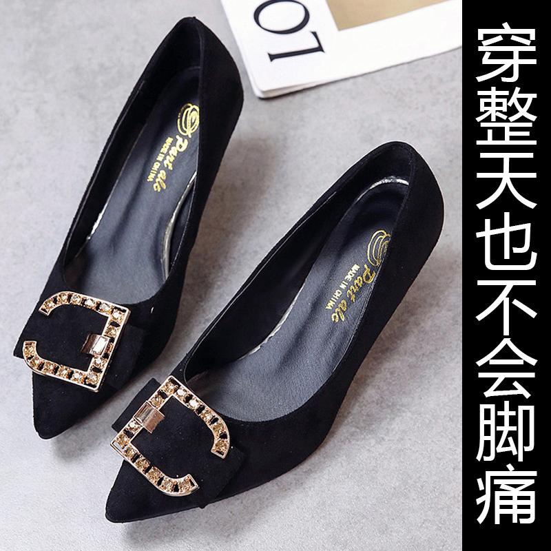 浅口时尚百搭尖头方扣细跟中跟大东单鞋女韩版软底舒适高跟鞋猫跟