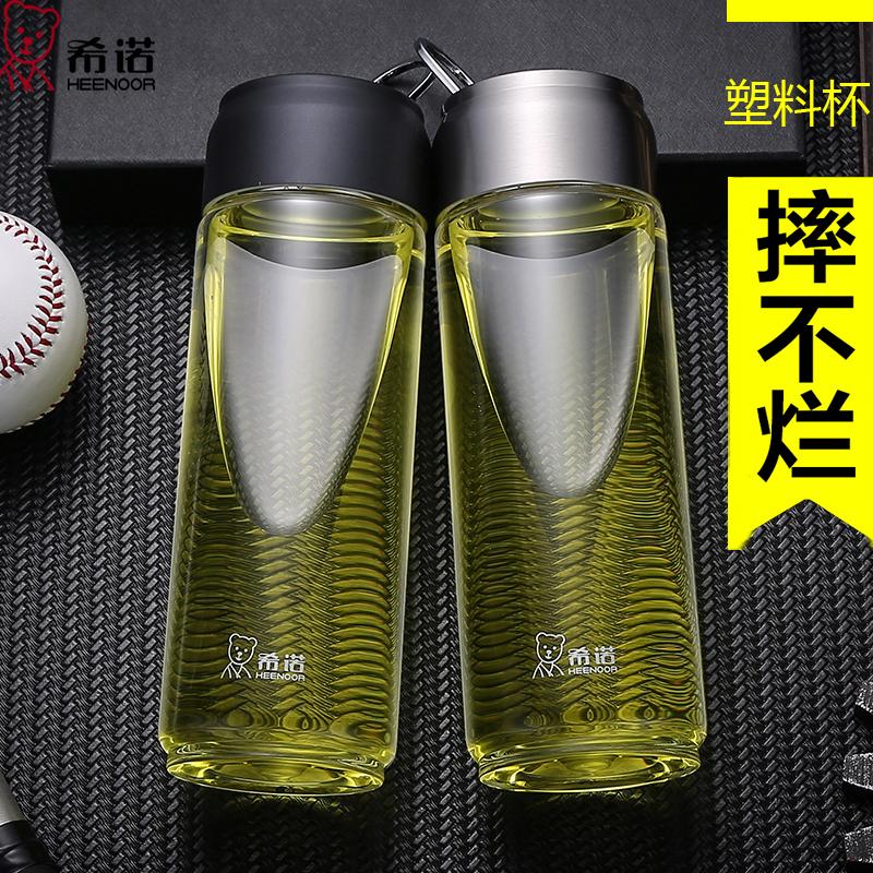 希诺塑料杯  带盖防漏便携加厚随手杯 创意可爱学生透明PC水杯子