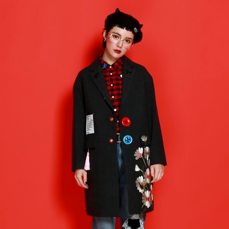 嬉游记原创 新款毛呢外套女 女装冬季中长款大衣