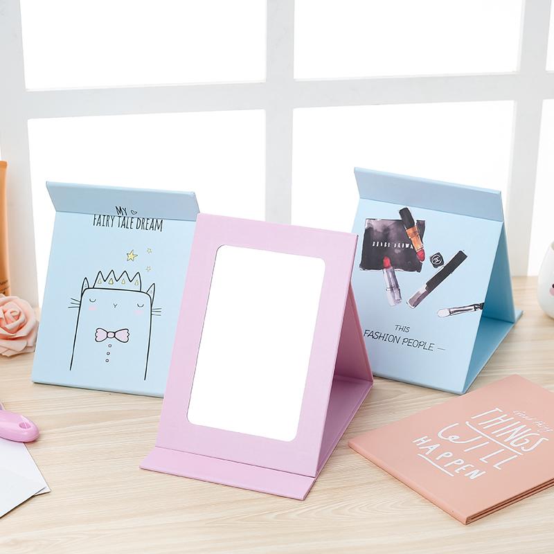樂彼臺式折疊化妝鏡大號梳妝便攜可愛迷你隨身小鏡子宿舍桌面翻蓋