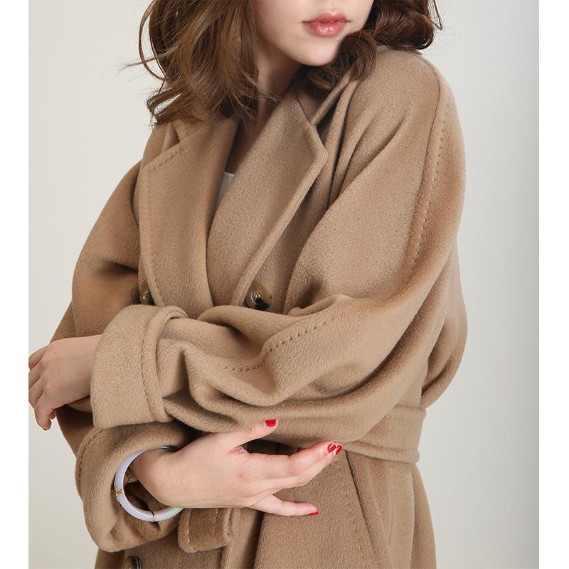 NZ定制101801经典驼色长款宽松廓形翻领双排扣羊毛