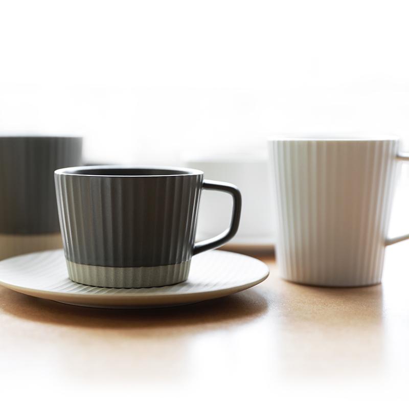肆月 忍冬 日式条纹磨砂陶瓷马克杯咖啡杯碟办公室水杯子奶茶杯