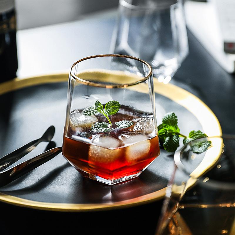 徐三村 水星 六边圆口玻璃杯透明金边 日式创意水杯家用饮料杯子