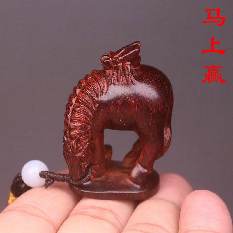 马上赢印度小叶紫檀木雕马上蝇红木挂件把玩件打牌打麻将备一个