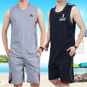Sports vest shorts suit men's summer sportswear cotton sleeveless shirt casual breathable fitness running clothing thin