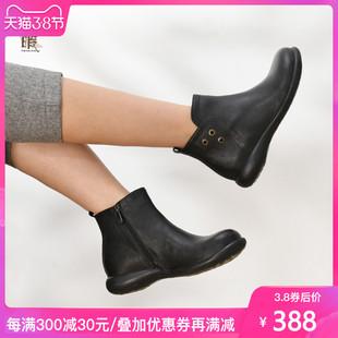 潘暇2019秋冬新款女靴 英伦风马丁靴复古女短靴真皮大码女鞋41-43