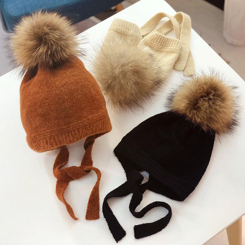 保暖儿童毛线帽秋冬天宝宝超大貉子毛球护耳帽婴儿羊绒针织套头帽