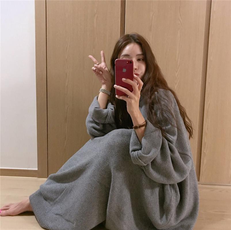韩版宽松大码蝙蝠袖针织连衣裙
