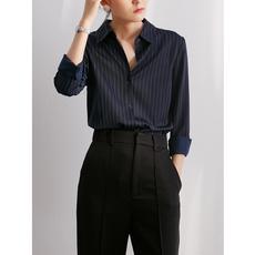 衬衫女设计小众感蓝色竖条纹春秋长袖衬衫显瘦气质衬衣叠穿上衣女