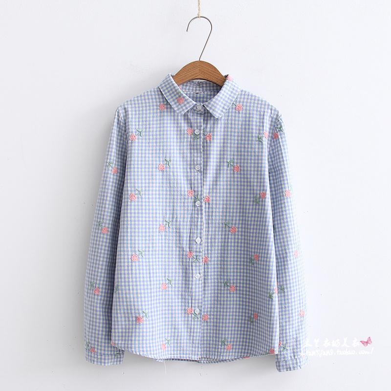 2018春季新款女装翻领花朵刺绣长袖格子衬衫百搭文艺修身学生衬衣