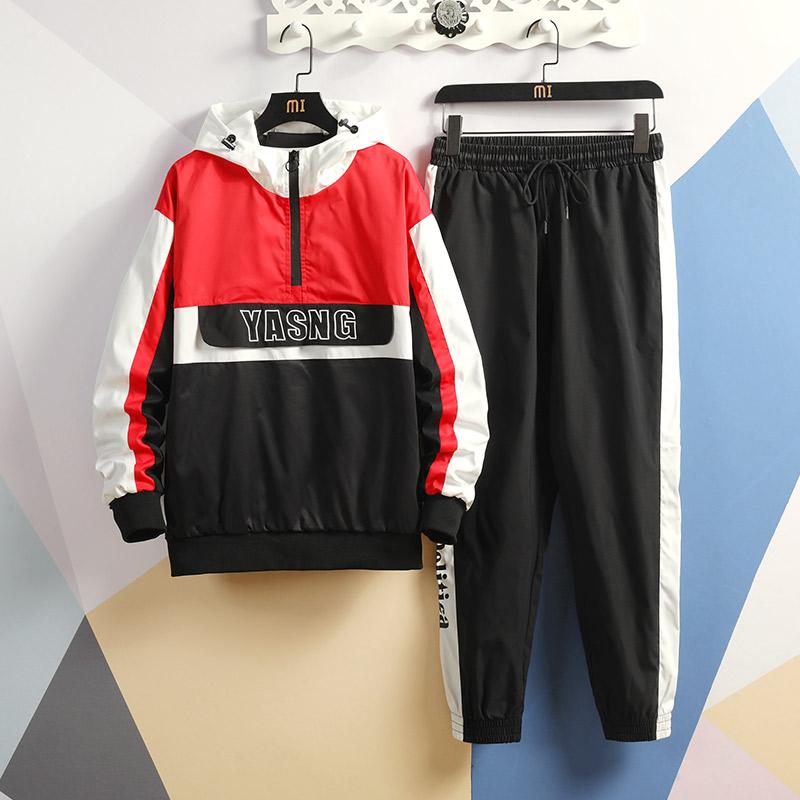 玛莎拉蒂家-D677-P88韩版青春少年2020秋新款夹克套装彩墙黑色