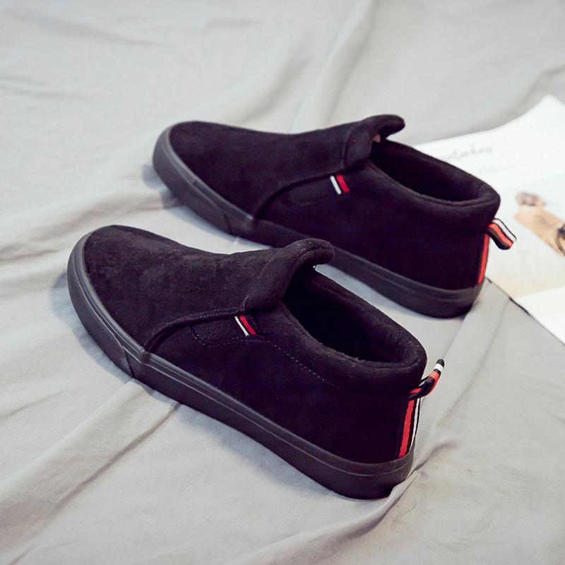 人本冬季加绒男鞋2019新款百搭平底一脚蹬帆布鞋保暖休闲学生板鞋