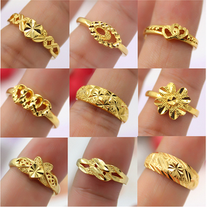 24k imitation gold cut flower lady ring car flower star female ring heart shaped lover ring opening can be adjusted