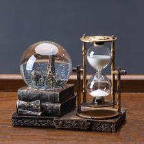 家居装饰品复古水晶球沙漏计时器酒柜客厅桌面埃菲尔铁塔创意摆件