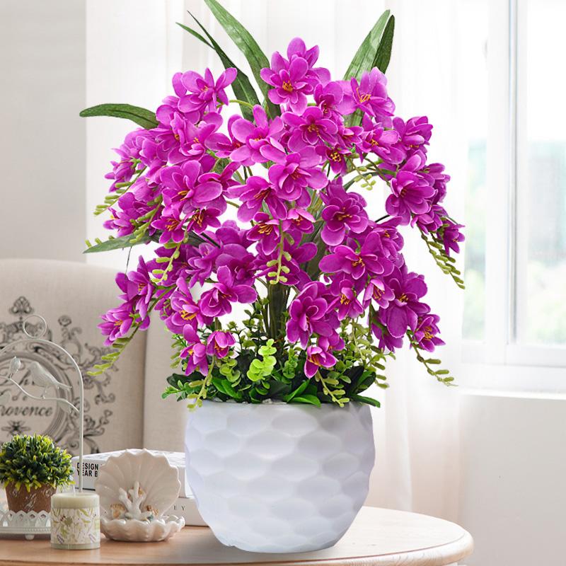 仿真花套装蝴蝶兰花假花盆栽客厅电视柜装饰花客厅室内摆件塑料花