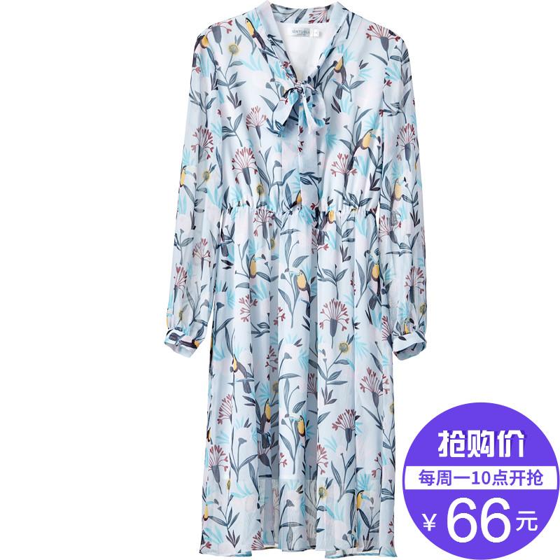 【66元】尚都比拉新款灯笼袖V领印花长袖雪纺连衣裙子中长款淑女