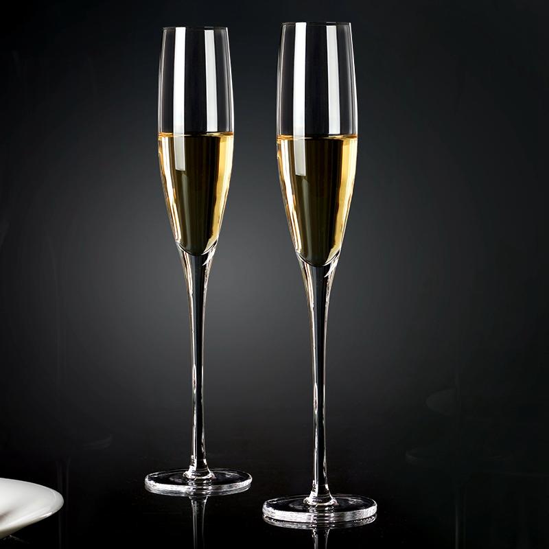 champagne glass品酒红酒杯水晶高脚杯气泡杯精品欧式香槟杯2只装