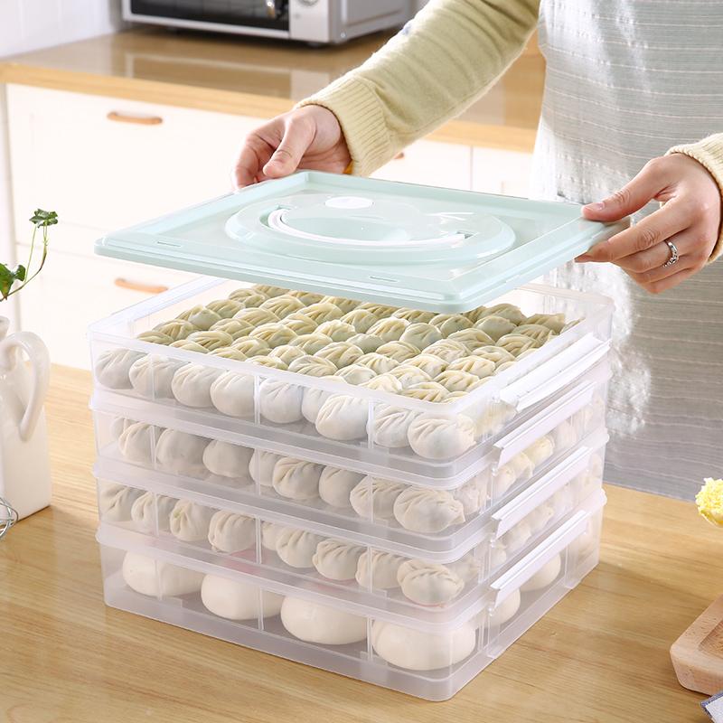 饺子盒冻饺子多层速冻家用冰箱保鲜盒水饺馄饨收纳盒冷冻饺子托盘
