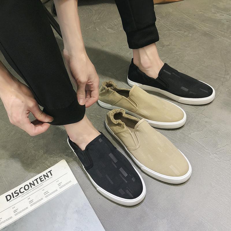 男鞋2018秋季新款韩版帆布鞋一脚蹬懒人鞋不系带休闲鞋老北京布鞋