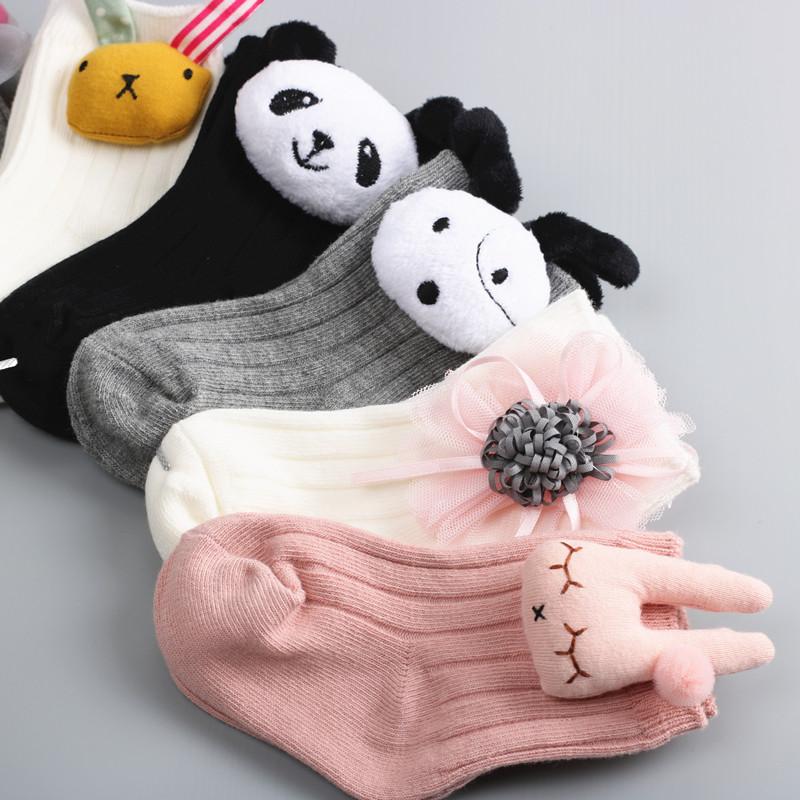 婴儿袜子春秋纯棉0-1-3-5周岁儿童棉袜韩版男女童宝宝卡通公仔袜