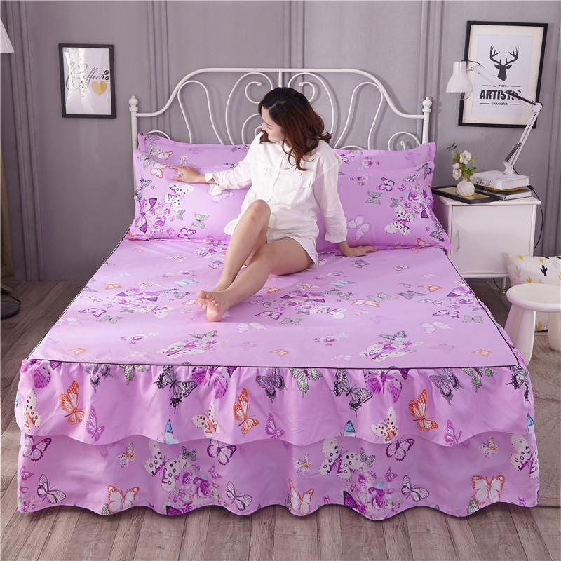 全活性棉单件厚床罩床裙式床垫套4四件套件1.21.5m1.8米床上用品