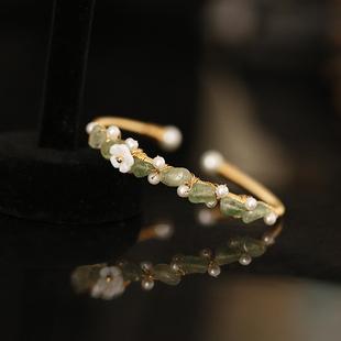 小众设计东陵玉水晶淡水异形珍珠可调节开口小清新手镯女冷淡风图片