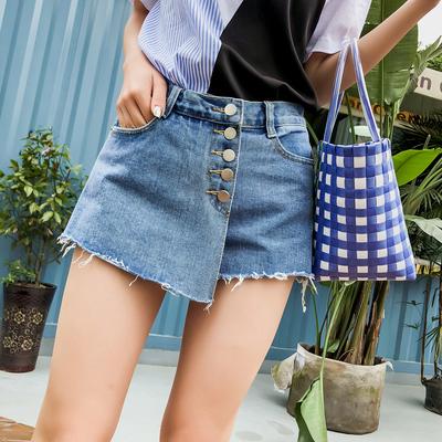 2018夏新款时尚不规则拼接排扣牛仔短裙裤休闲时尚高腰阔腿裤子女 拍下89.99元包邮
