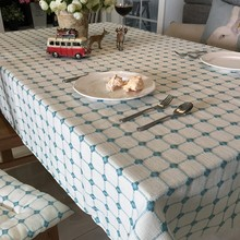 新式日式(小)格子加厚棉麻桌布布艺ct12餐桌布68桌布盖布定制