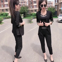 时尚套装ab11秋季新uo瘦烫钻气质职业西服(小)脚裤吊带女三件套