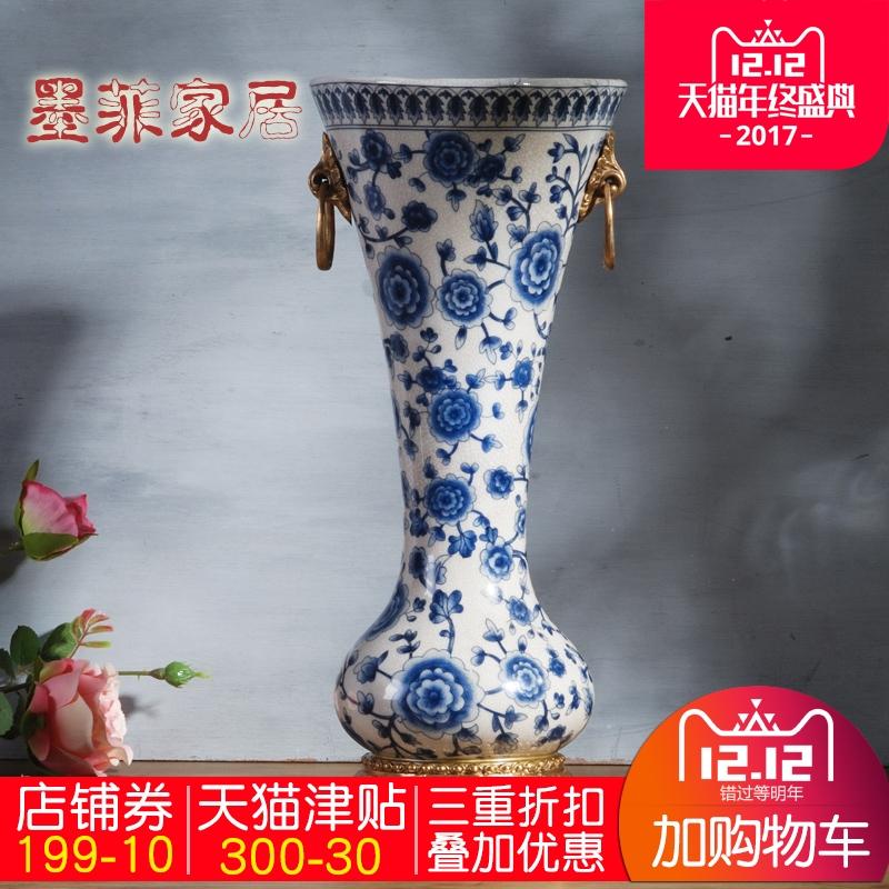 墨菲新中式青花瓷配铜陶瓷花瓶客厅复古家居装饰品插花器摆件