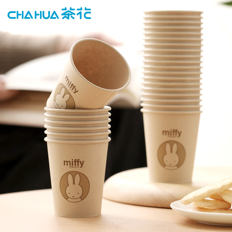茶花米菲原浆一次性杯子120只PE淋膜杯家用结婚纸杯大号加厚商用