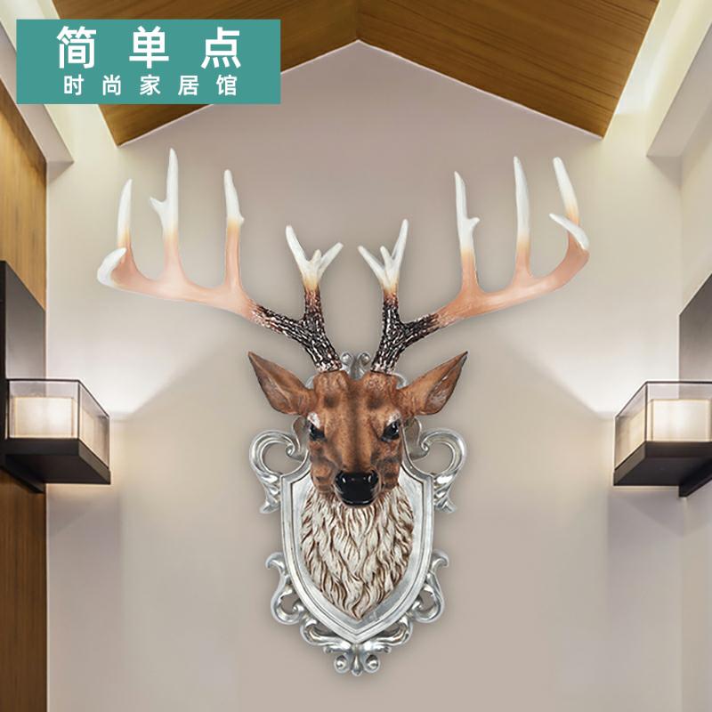 北欧鹿头壁挂仿真动物创意玄关客厅酒吧背景电视墙壁招财立体装饰