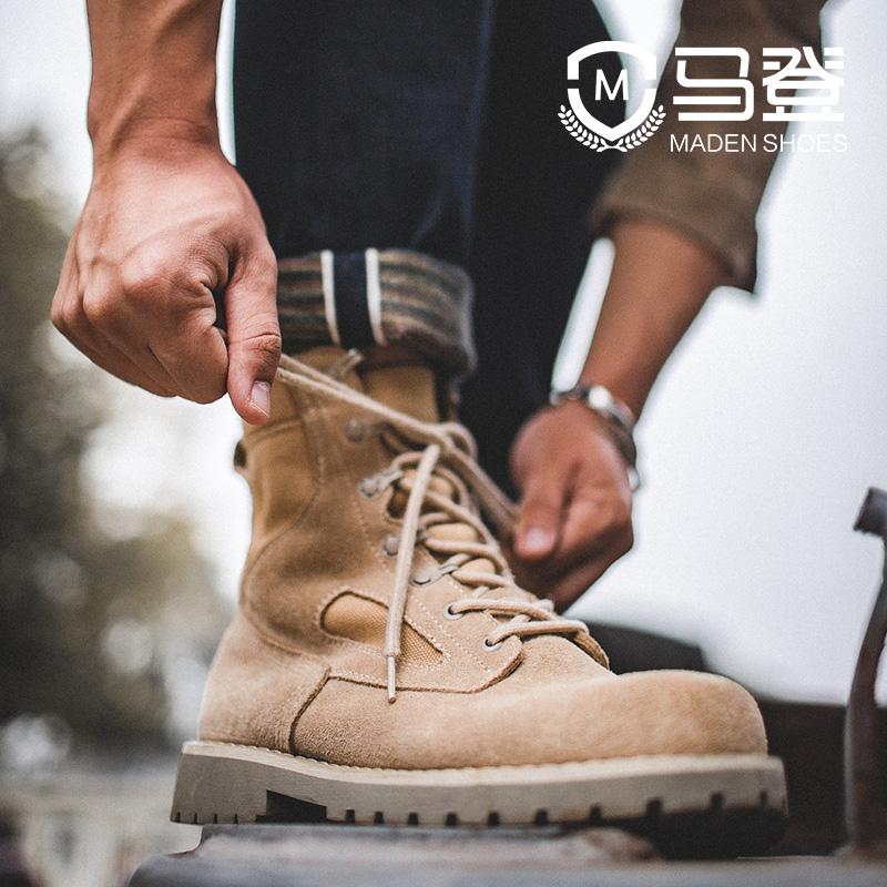 沙漠靴男秋季高帮工装靴潮流百搭英伦风靴子男中帮男鞋战狼马丁靴
