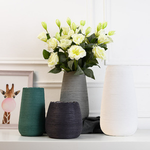 Nordic ceramic flower vase modern minimalist creative living room brushed white flower drier home decorations ornaments
