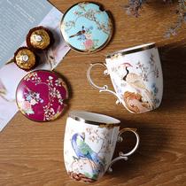国潮骨瓷咖啡杯创意大容量陶瓷杯子家用高颜值情侣杯马克杯带盖勺