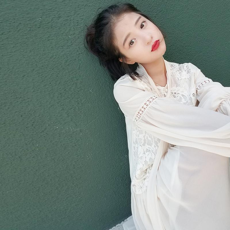 大喜自制 定制重工镂空蕾丝长裙荷叶边长袖蝴蝶结领气质连衣裙