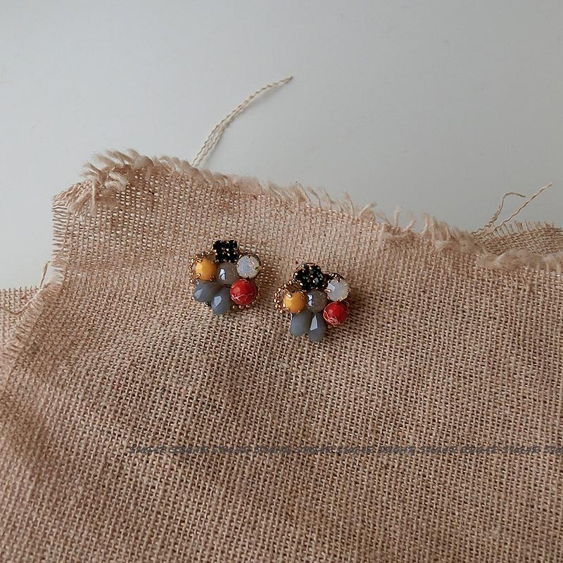 vintage配色小石头耳钉925银针网红甜美可爱百搭小众设计耳饰个性