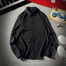 纯色商务休闲长袖衬衫男职场男胖的衬ww14加肥加ou秋季短袖